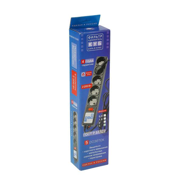 """Сетевой фильтр """"Power Cube"""" серия SPG-B, 5г-5.0м-zv, 10А, ПВС 3х0.75, цвет серый, заземление, выключатель, в коробке (1/30) 00003779"""