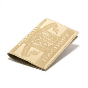 Обложка на паспорт натуральная кожа,тиснение «Герб Люкс» горизонтальный,цвет микс (10/500) 00003960