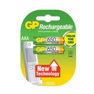 Аккумулятор GP Rechargeable R03/AAA 650mAh Ni-Mh BL2 (20) [65AAAHC] 00004381
