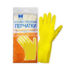 Перчатки латексные хозяйственные «Xinda» размер М (7.5″-8″ средний), цвет: оранжевый, пакет (12/300) 00004683