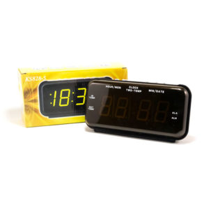 Часы сетевые KS-828-5 желтый,календарь,термометр с выносным датчиком,21.5х10.8х7.8см (40) 00005047