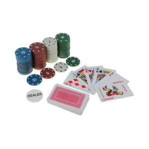 Набор для покера: колода карт 54 шт., 24 фишки с номиналом,блистер,250гр/м2 (144) 00005200