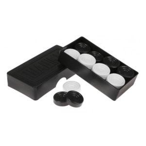 Игра «Шашки», в черной пластиковой коробке, 1сорт, D=30 мм. (1/30) 00005416