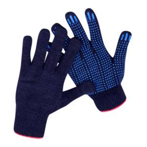 Перчатки трикотажные х/б «Лидер», 5 ниток, чёрные, с ПВХ покрытием «точка»  62гр., 10 класс вязки (10/300) 00005738