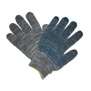 Перчатки трикотажные х/б «Лидер», 5 ниток, графит, с ПВХ покрытием «точка» 63гр., 10 класс вязки (10/300) 00005739