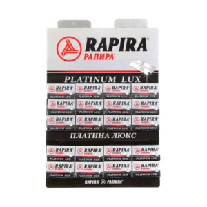 Лезвие двухстороннее для бритья «Рапира» Platinum LUX, арт.РК-05ПЛ01, Платина люкс(1упаковка=20пачек х 5шт) (40пачек/800шт) 00006092
