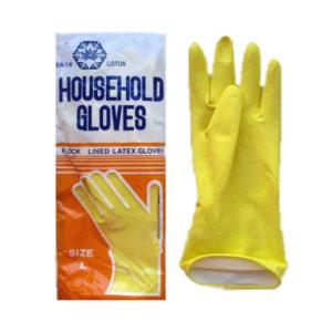 Перчатки латексные хозяйственные универсальные «Lotus» размер M (7.5″-8″ средний), 50гр., цвет: оранжевый, пакет (12/240) 00006520