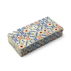 Кубик игральный №11 10х10х10мм белый,пластиковый (100/600/15000) 00006700