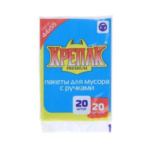 Крепак пакеты в СТОПЕ с ручками для мусора 20л/20шт. 10мк, ПНД, пакет, черный, 44х55см (50) 00007121