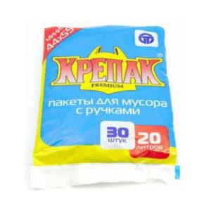 Крепак пакеты в СТОПЕ с ручками для мусора 20л/30шт. 10мк, ПНД, пакет, черный, 440х550мм (1/50) 00007122