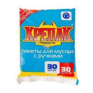 Крепак пакеты в СТОПЕ с ручками для мусора 30л/30шт. 11мк, ПНД, пакет, черный, 500х650мм (1/50) 00007124