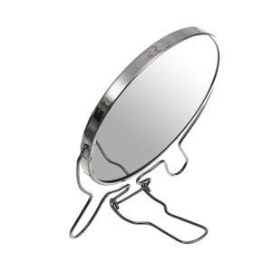 Зеркало настольно-подвесное двустороннее с увеличением 7″/18.0см «MIRROR» круглое,металлическое (12/72) 00007611