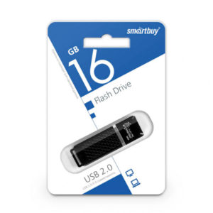 USB 2.0 флеш-накопитель 16Gb Smartbuy Quartz Series черная,колпачек,58х19мм [SB16GBQZ-K] БЗ000830