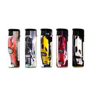 Зажигалка газовая карманная турбо с фонариком «ONEY TF-01» Авто, цвет фонарика: красный синий, нажимной механизм (50/1000) БЗ008732