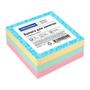 Самоклеящийся блок 3 цвета 50х50 мм, «OfficeSpace» 300 листов (1/12/186) БЗ008767