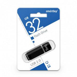 USB 2.0 флеш-накопитель 32Gb Smartbuy Quartz Series черная, колпачек, 58х19мм [SB32GBQZ-K] Г0000400