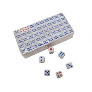 Кубик игральный №14 13х13х13мм белый,пластиковый (100/500/10000) 00006703