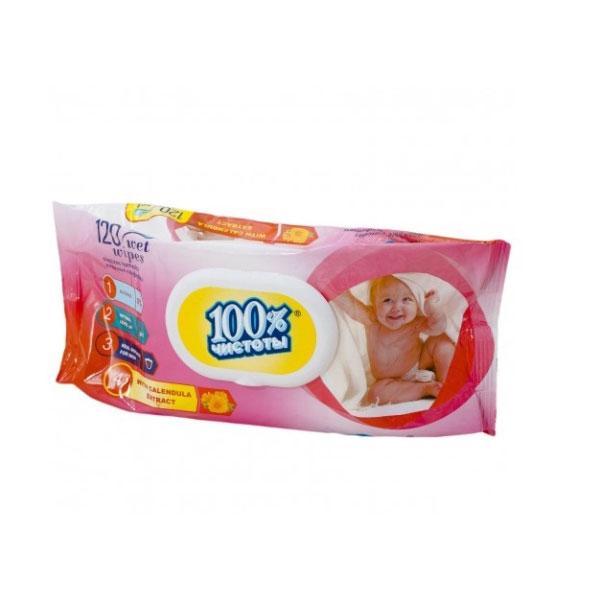 """100% Чистоты Влажные салфетки с клапаном 120шт. с ароматом, для детей , """"Calendula"""" (1/14) БЗ008882"""