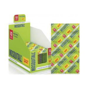 MOSQUITALL Пластины от комаров 10шт. «Универсальная защита» без запаха,зеленые (48/288) [07025] О0000475