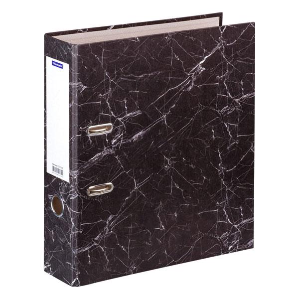 Папка-регистратор OfficeSpace, 70мм, мрамор, цвет черный, арт.153195 (1/1) БЗ009557