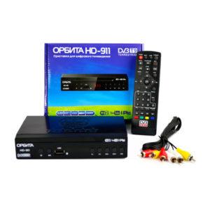 Цифровой приёмник стандарт DVB-T2,DVB-C «ОРБИТА» арт.HD-911, 123х64х26мм, пульт, блок питания, шнур 3 тюльпана, в коробке (1/40) БЗ009701