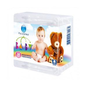 Русалочка Ватные палочки  пластик детские, в банке квадратной 56шт. «Baby line», арт.072264 (1/24) БЗ009754