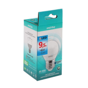 Лампа светодиодная G45 Smartbuy 9W/80Вт E27 4000К шар,холодный свет, 81х45мм (10/100)  [SBL-G45-9-40K-E27] БЗ009763
