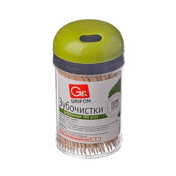 """Зубочистки в пластиковом стакане, 200шт. """"FSWL/GRIFON"""", деревянные, березовые (4/480) [400-005] БЗ009868"""