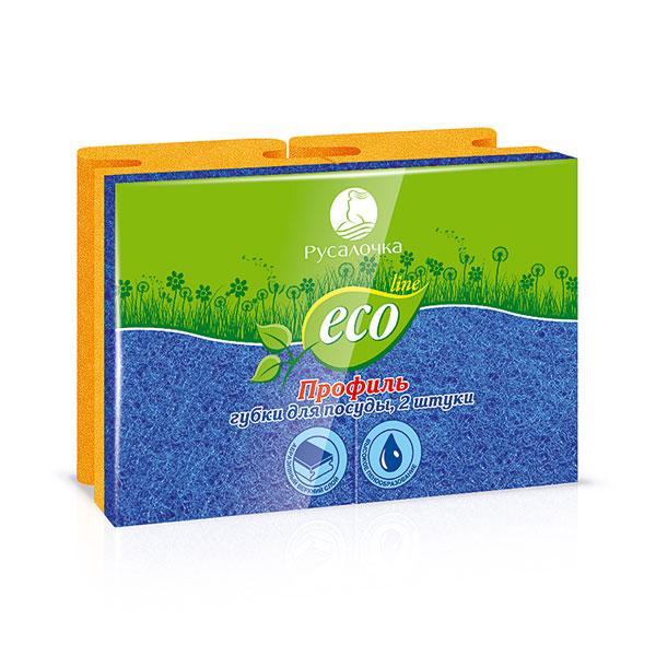 """Губка для посуды поролоновая с абразивным слоем по 02шт. Eco Line """"Profil"""" Арт.079683, 8.0х6.0х4.0см (1/40) цена за 2шт БЗ009947"""