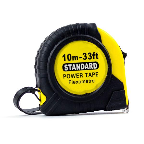 """Рулетка с ударопрочным корпусом 10.0м х 23мм """"STANDARD"""" арт.S-20056, защитный противоскользящий резиновый чехол, цвет полотна желтый (1/12/120) БЗ009954"""