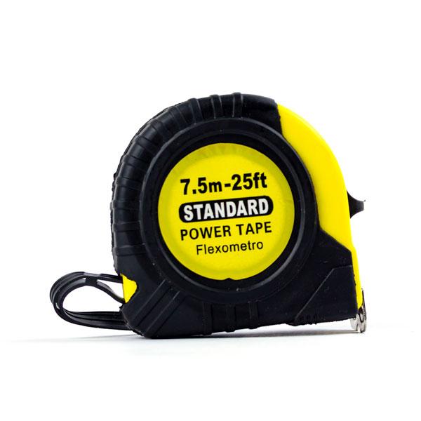 """Рулетка с ударопрочным корпусом 7.5м х 23мм """"STANDARD"""" арт.S-20055, защитный противоскользящий резиновый чехол, цвет полотна желтый (1/12/120) БЗ009955"""