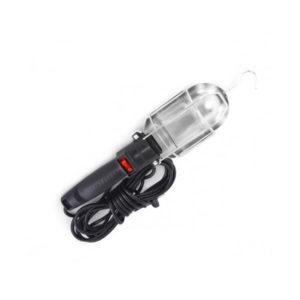 Светильник переноска (гаражная) «SHACHENG» арт.S-7163, 10м, 7А, кабель: ПВС 2х0.75, цвет: чёрный, цоколь: Е27, металлическая защита, с выключателем, в пакете (1/35) О0001568