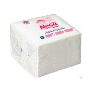 Салфетки бумажные, белые, однослойные 90шт.»Нега», 24х24см (1/48) БЗ010032